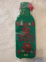 """11""""NEW RUSS GREEN KNIT CHRISTMAS POINSETTIA WINE BOTTLE COVER,HOLIDAY SP... - $10.88"""