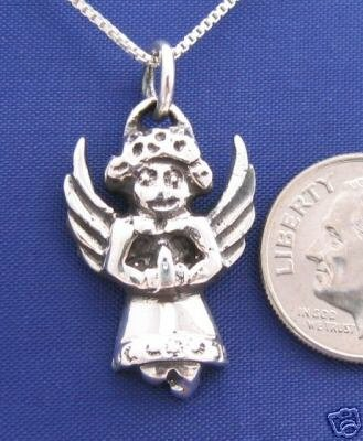 Ugly PRAYING ANGEL 18 Inch Necklace 925 Silver N22.D