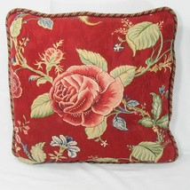 Waverly Montague Floral Crimson Red Cabbage Rose 16-inch Square Toss Pillow - $31.00