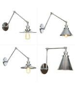20th C. Factory Library Swing Arm Sconce E27 Light Wall Lamp Chrome F Li... - $54.45+