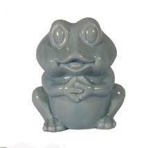 "Vintage Frog coin piggy bank or figurine ceramic light blue Small 4"" - $11.88"