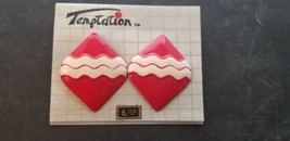 Vintage Temptation Brand Red With White Squiggly Striped Diamond Shape E... - $14.47