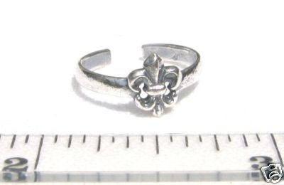 FLEUR DE LIS Toe Ring - 925 Sterling Silver - Oxidized Saints Fan Womens T01.CO