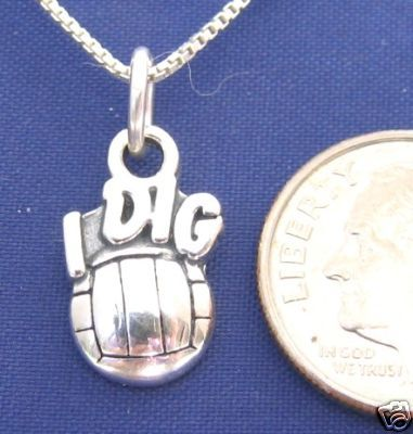 ccj I DIG VOLLEYBALL 16 Inch Necklace 925 Silver N06.J