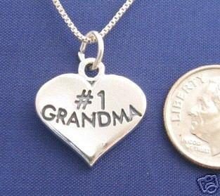 "ccj #1 GRANDMA HEART 18"" Necklace 925 Silver Womens N09.B"