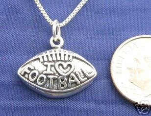 ccj I LOVE FOOTBALL 20 Inch Necklace 925 Silver N58.A