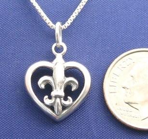 """ccj FLEUR DE LIS HEART 16"""" Necklace 925 Silver N18.E"""