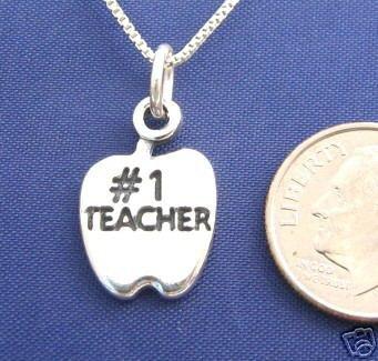ccj #1 TEACHER APPLE 16 Inch Necklace 925 Silver N09.D