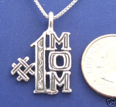 ccj  #1 MOM 18 Inch Necklace 925 Silver Love Womens N24.B