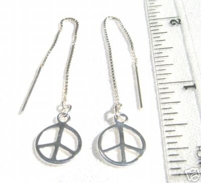 ccj PEACE SIGN SYMBOL Thread Earrings 925 Silver A156