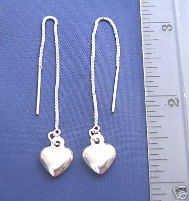 ccj 3D PUFFED HEART 3 Inch Thread Earrings 925 Silver A137.B