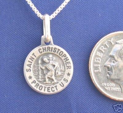 ST CHRISTOPHER 18 Inch Necklace Pendant 925 Silver Saint N49.B