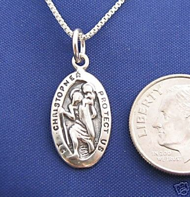 ST CHRISTOPHER 16 Inch Necklace Pendant 925 Silver Saint N49.A