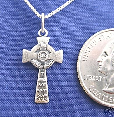 23rd PSALM CROSS 18 Inch Necklace 925 Silver N50.C