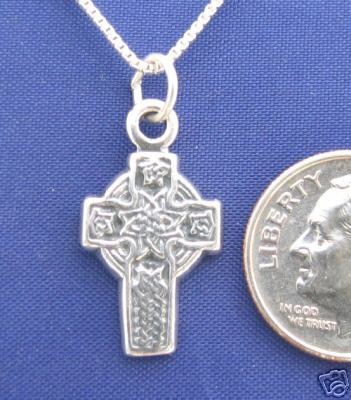 Small CELTIC CROSS 16 Inch Necklace 925 Silver N32.B
