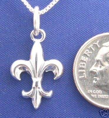 ccj FLEUR DE LIS 16 Inch Necklace 925 Silver Saints N18.A