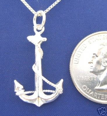 Medium ANCHOR CROSS 20 Inch Necklace Pendant 925 Silver N67.C