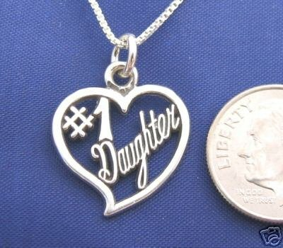 #1 DAUGHTER HEART 16 Inch Necklace Pendant 925 Silver N09
