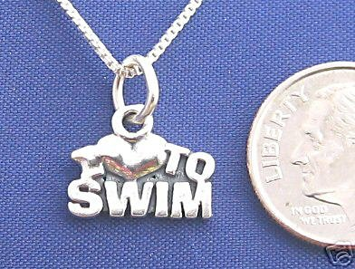 I LOVE TO SWIM 16 Inch Necklace 925 Silver Sport N06