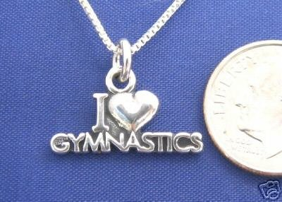 "I LOVE GYMNASTICS 16"" Necklace 925 Silver Sport N06.F"
