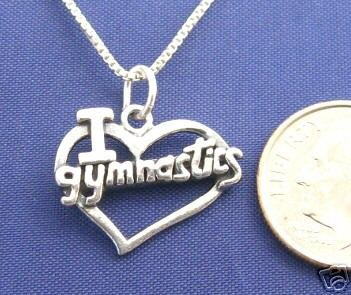 "I LOVE GYMNASTICS 16"" Necklace 925 Silver Sport N06.I"