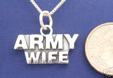 """ccj ARMY WIFE 18"""" Necklace 925 Silver Military Family N13.A"""