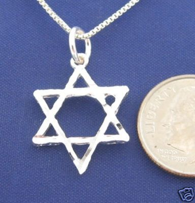 Diamond Cut STAR of DAVID 18 Inch Necklace 925 Silver N28.J