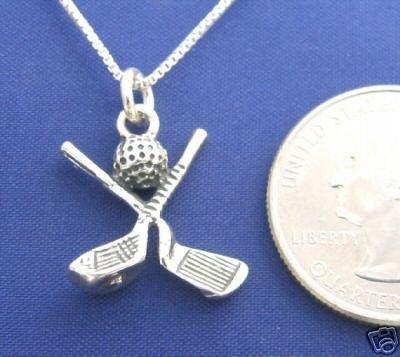 GOLF CLUBS w/ BALL 18 Inch Necklace 925 Silver Sport N20.C
