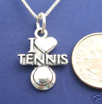 I LOVE TENNIS Heart 18 Inch Womens Necklace Pendant 925 Silver N21.B