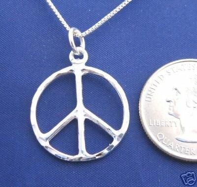 "ccj Diamond Cut PEACE SIGN 18"" Necklace 925 Silver N07.C"