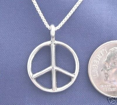 ccj Small PEACE SIGN 16 Inch Necklace 925 Silver N07.A