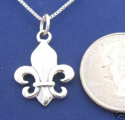 ccj Lg FLEUR DE LIS 20 Inch Necklace 925 Silver Flower N18.