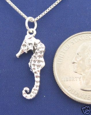 ccj 3D SEAHORSE 16 Inch Necklace 925 Silver N11.A