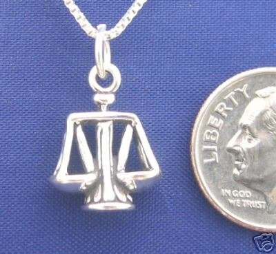 ccj SCALES JUSTICE LIBRA 18 Inch Necklace 925 Silver N54.F