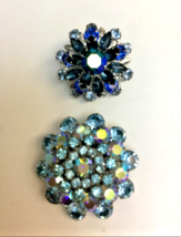 TWO Vintage 1950's Blue Rhinestone Dome Brooches - $46.04