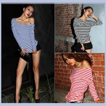 Long Sleeve Sexy Off Shoulder Fashion Cotton T-Shirt 5 Assorted Colors - $34.95