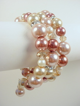 Memory Wire Bracelet with Mauve and White Glass Pearls, Rhinestones and ... - $50.00