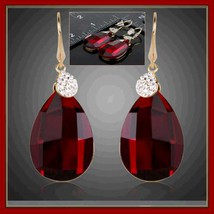 Vintage Ruby Red Cushion Cut Quartz & Rhinestones 18 K Gold Plate Drop Earrings