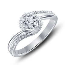 14k White Gold 925 Silver Round Sim Diamond Solitaire With Accents Wedding Ring - $72.33