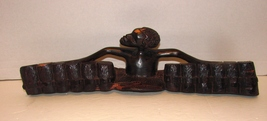 African Wood Sculpture Contemporary  Hand Carved Musician Playing Drums  - $14.99
