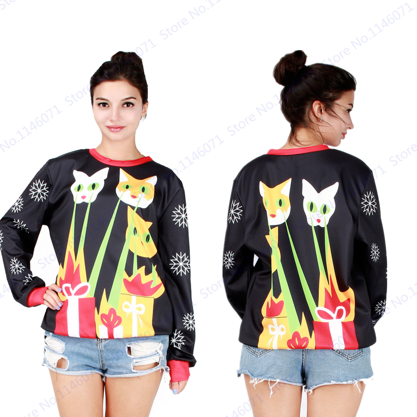 Primary image for Joey's laser beam cats Christmas Training Sweaters Black Ugly Christmas Women Ho