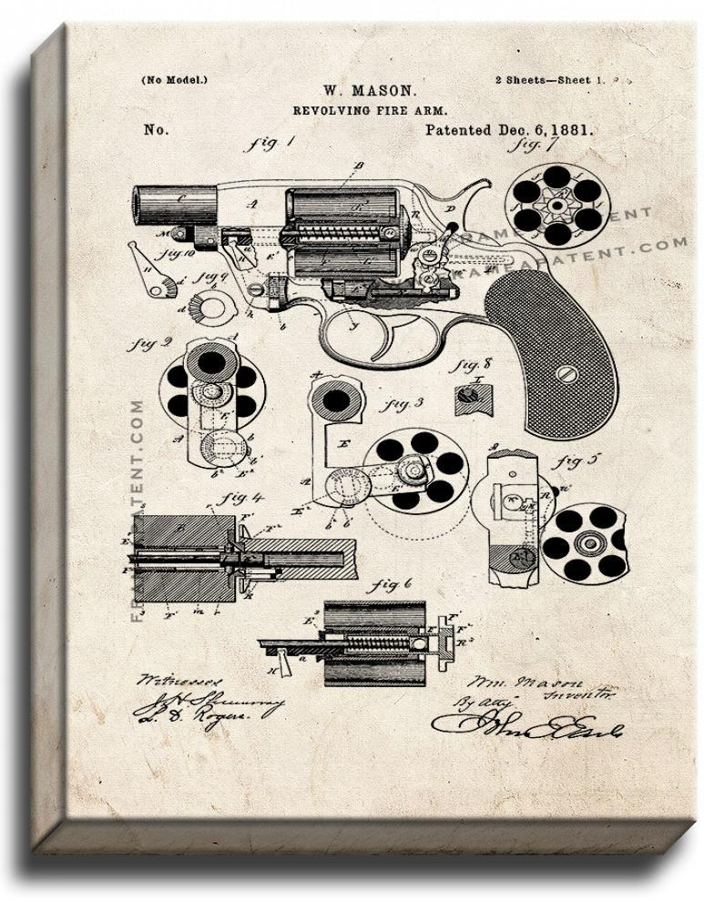 Primary image for Revolving Firearm Patent Print Old Look on Canvas