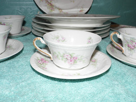 Limoges  Cup Saucer Luncheon Cookie Plate 3 Piece Set Pink Theodore Haviland - $33.65