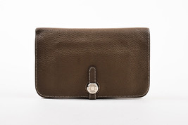 "Hermes ""Etoupe"" Taupe Clemence Leather & Lambskin ""Dogon Duo"" Wallet - $1,505.00"