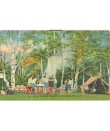 Out in the Open, Camping in the White Mts. NH, unused linen Postcard  - $9.99