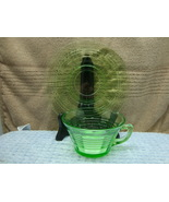 Green Vaseline glass circle optic cup and saucer. - $15.00