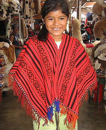 Red Poncho from Peru,outerwear made of Alpacawool