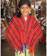 Red Poncho from Peru,outerwear made of Alpacawool  - $42.00