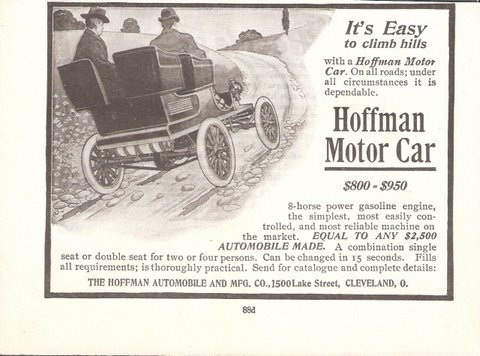 1903 Hoffman Motor Car old vintage automobile 1/2 page print ad