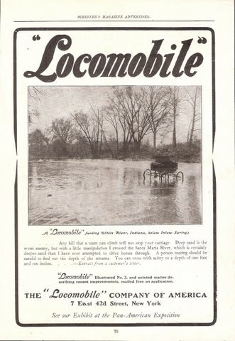 1901 Locomobile Fording White River Indiana print ad